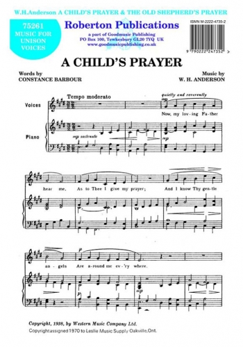 Anderson : A Childs Prayer: Vocal