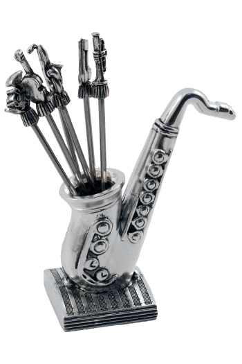Cocktail Sticks With Saxophone Holder - Silver Plated