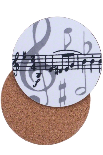 Grey Music Notes Coasters
