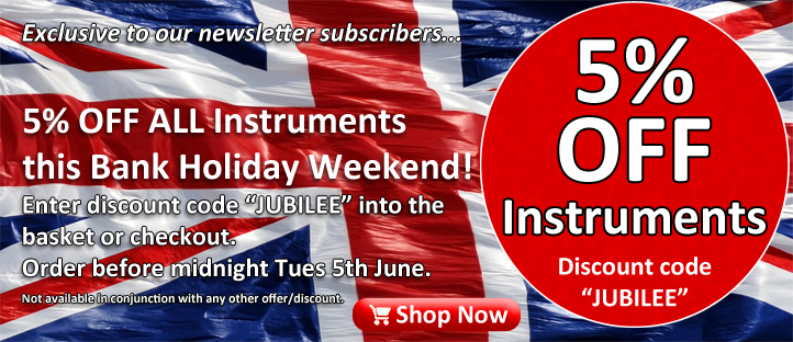 5% Off Instruments at Ackerman Music - Voucher Code JUBILEE