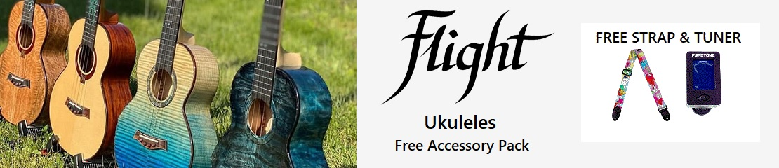 Free Strap and Tuner With Flight Ukuleles