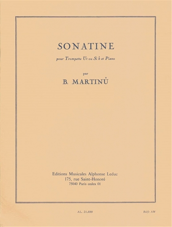 Bohuslav martinu sonatina for trumpet and piano